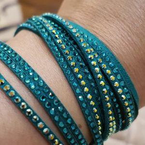 Swarovski crystal and leather wrap bracelet.